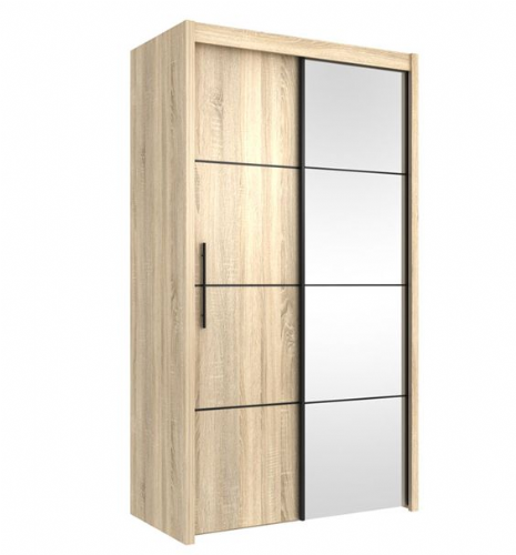 Carlo Sliding Door Wardrobe 121cm in Oak - 2418
